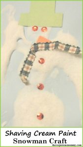 snowman craft -- make your own snow paint; shaving cream paint snowman