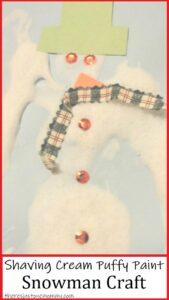 how to make shaving cream puffy paint for a fun preschool snowman craft