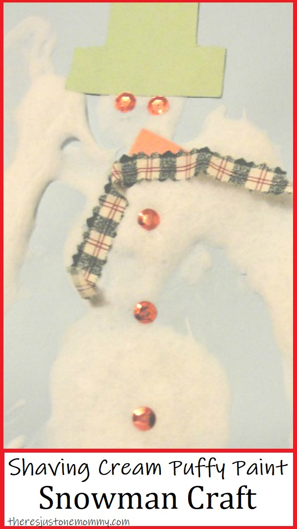 how to make shaving cream puffy paint for a fun preschool snowman craft