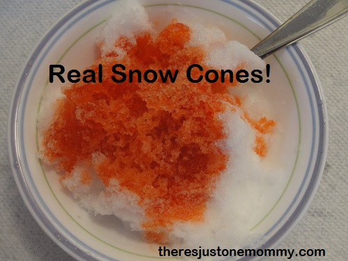 snow cone out of snow