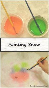 Painting Snow -- simple winter kids activity to avoid cabin fever