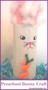 Preschool Bunny Craft: simple cardboard tube bunny craft; toddler bunny craft