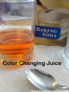 baking soda and grape juice experiment from There's Just One Mommy