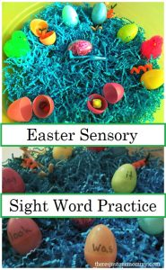 Easy Easter Sensory Bin and Sight Word Practice Activity