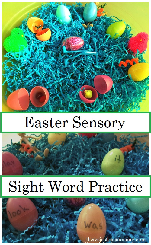 Easter sight word practice -- turn a simple Easter sensory bin into sight word practice for older kids.