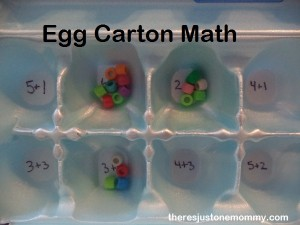 egg carton with math facts