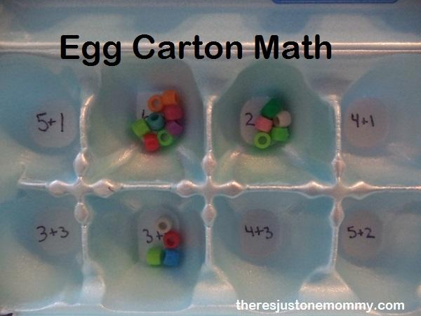 egg carton with math facts