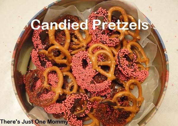 easy directions to make the perfect candied pretzels from There's Just One Mommy