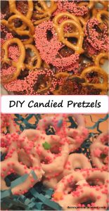 DIY candied pretzels: chocolate covered pretzels make a tasty DIY Valentine's Day treat