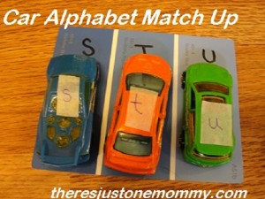 things to do with toy cars -- work on ABC skills