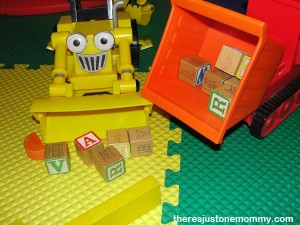ways to play with toy cars (and trucks) -- use blocks!