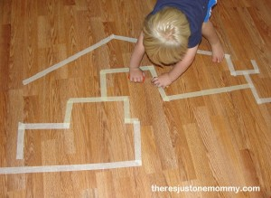 ways to play with toy cars -- masking tape maze