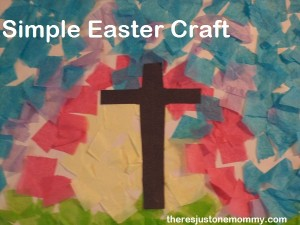 tissue paper collage Easter craft via There's Just One Mommy