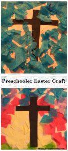simple preschooler Easter craft: tissue paper collage, preschooler cross craft, toddler Easter craft