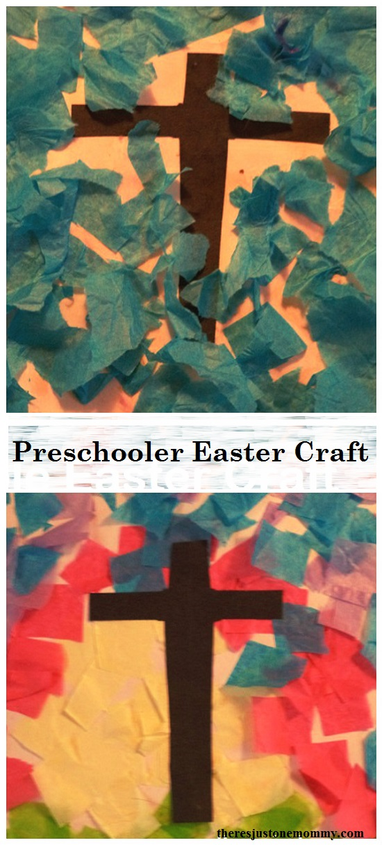 simple preschooler Easter craft: tissue paper collage, preschooler cross craft, toddler Easter craft