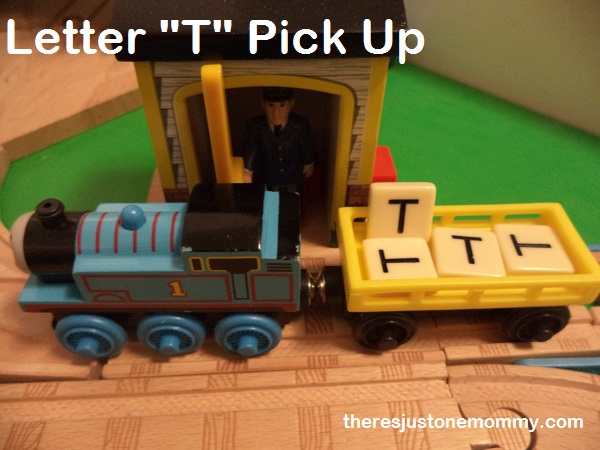 using toy trains to teach about the letter T