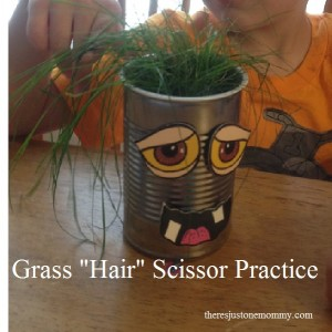 "scissor practice -- a great way to let preschooler practice scissor skills by cutting ""hair"""