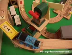 """letter """"T"""" scavenger hunt with toy trains"""
