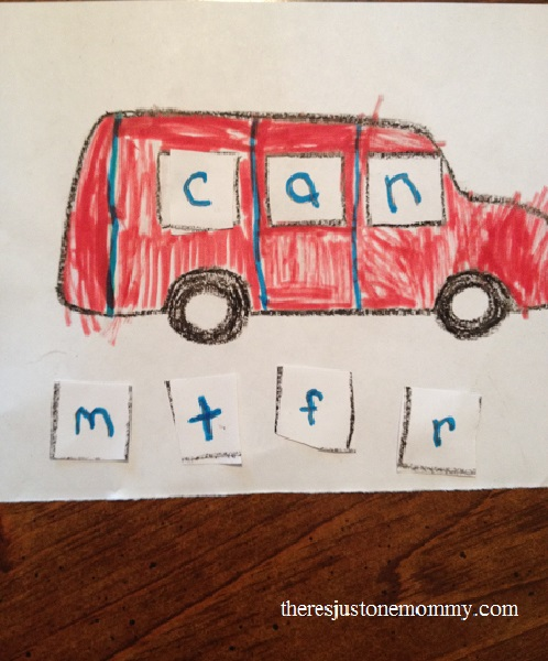 preschooler rhyming activity with van