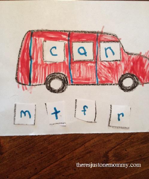 preschooler rhyming activity with van