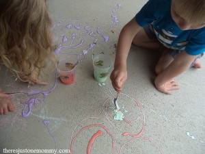 painting with fizzing sidewalk paint