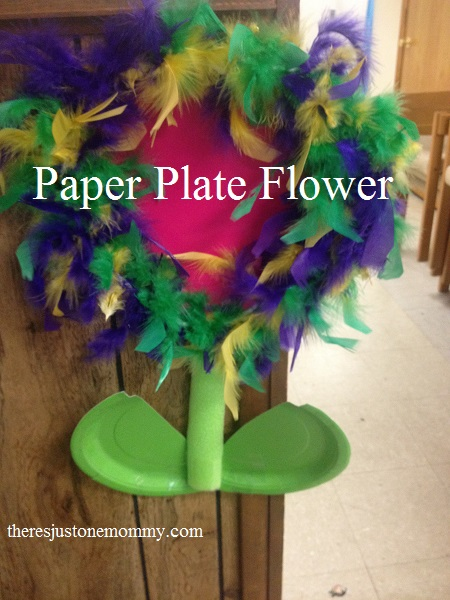 Paper plate flower craft theres just one mommy fun feathery paper plate flower craft mightylinksfo