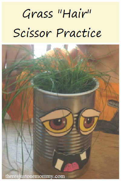 "Grass ""Hair"" -- fun scissor practice for preschoolers"