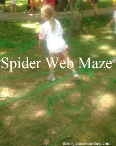 Building a spider web maze -- a fun outdoor activity for kids!