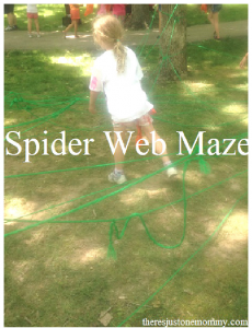fun outdoor activity for kids -- build a spider web maze!
