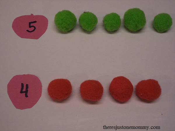 counting activity using pom-pom apples