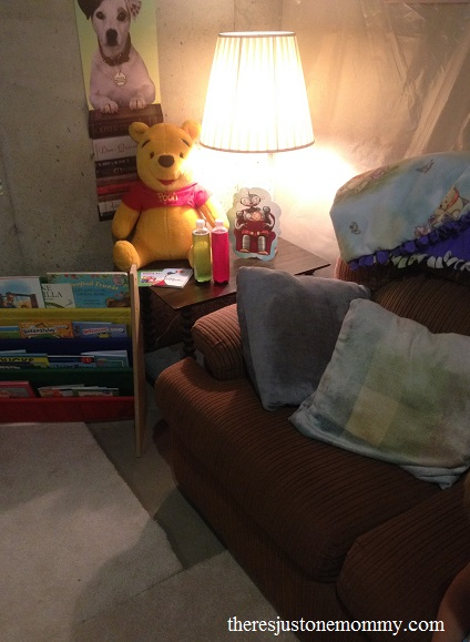 reading spot in homeschool classroom