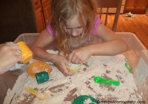 sensory play with cloud dough