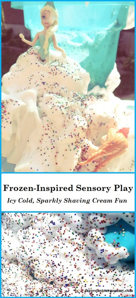 Does your child love Disney's Frozen movie?  This icy cold shaving cream sensory play is the perfect Frozen sensory play for kids.