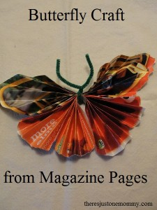 butterfly craft from recycled magazine pages