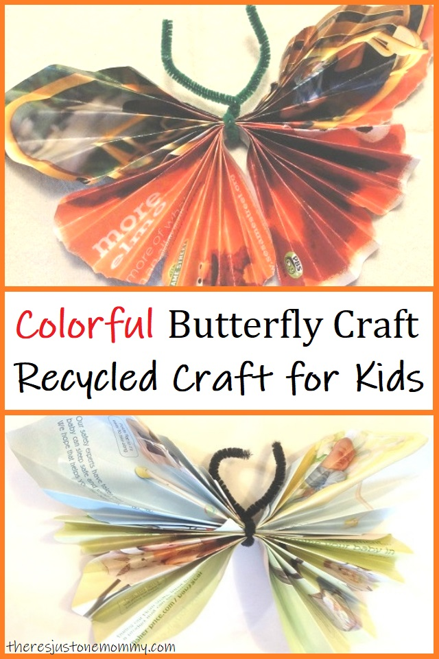 butterfly craft made from recycled magazines
