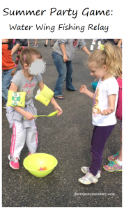 kids summer party game: water wing fishing relay race
