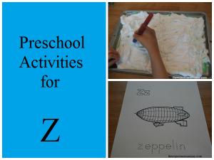 preschooler activities for Z