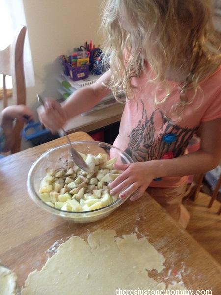 mixing ingredients for apple pie