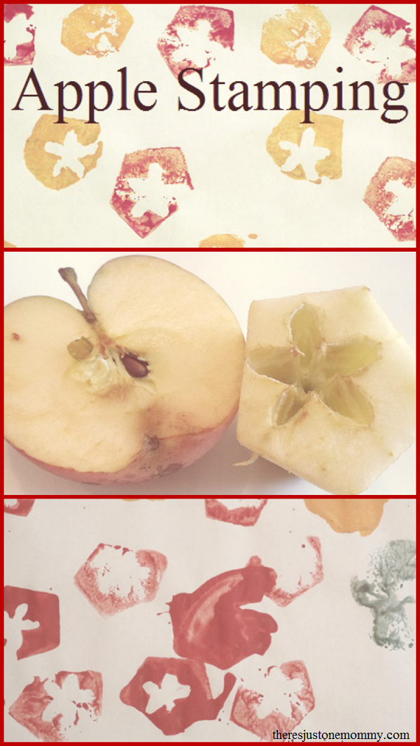 Fun apple craft for preschoolers -- apple stamping; make apple prints