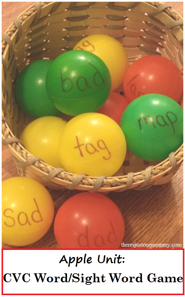 apple-themed sight word game (CVC word game) for apple unit
