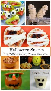 Halloween snacks for kids; fun Halloween treats for a kids Halloween party