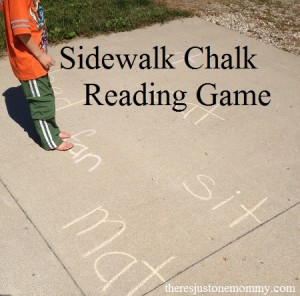 Simple sidewalk chalk reading game to get them moving and learning outside!