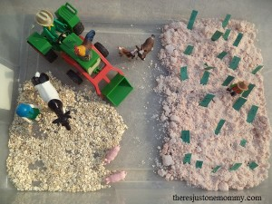 Reading Farm: sensory bin and sight word game