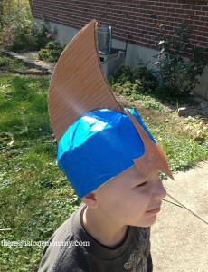 DIY cardboard costume helmet