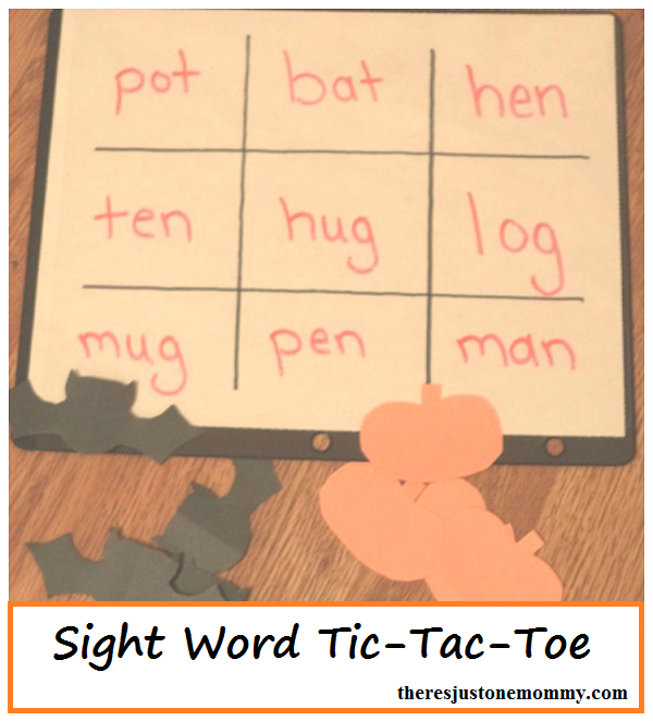 Sight Word Game -- play tic-tac-toe with sight words