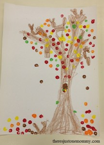 mess-free painted fall tree craft