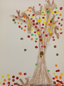 q-tip painted fall tree craft