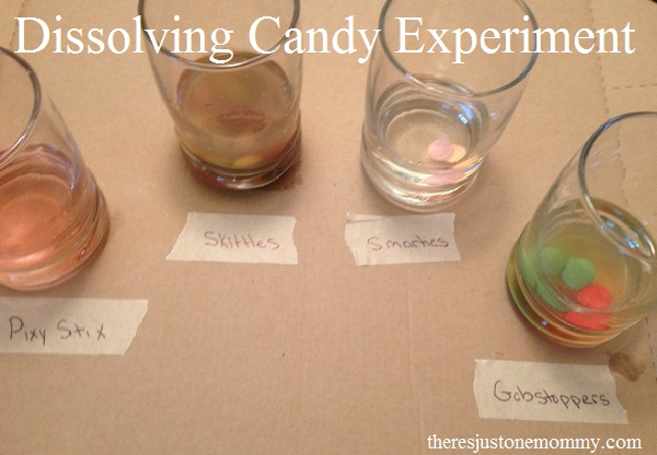 simple experiment to see which candy dissolves first