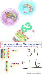 Looking for a way to help your child understand double digit addition and subtraction? Make your own homemade math manipulatives for tons of hands-on math activities.