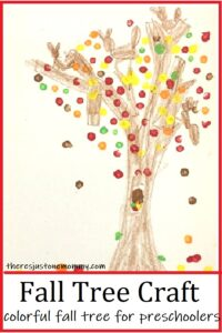 colorful q tip painting of fall tree